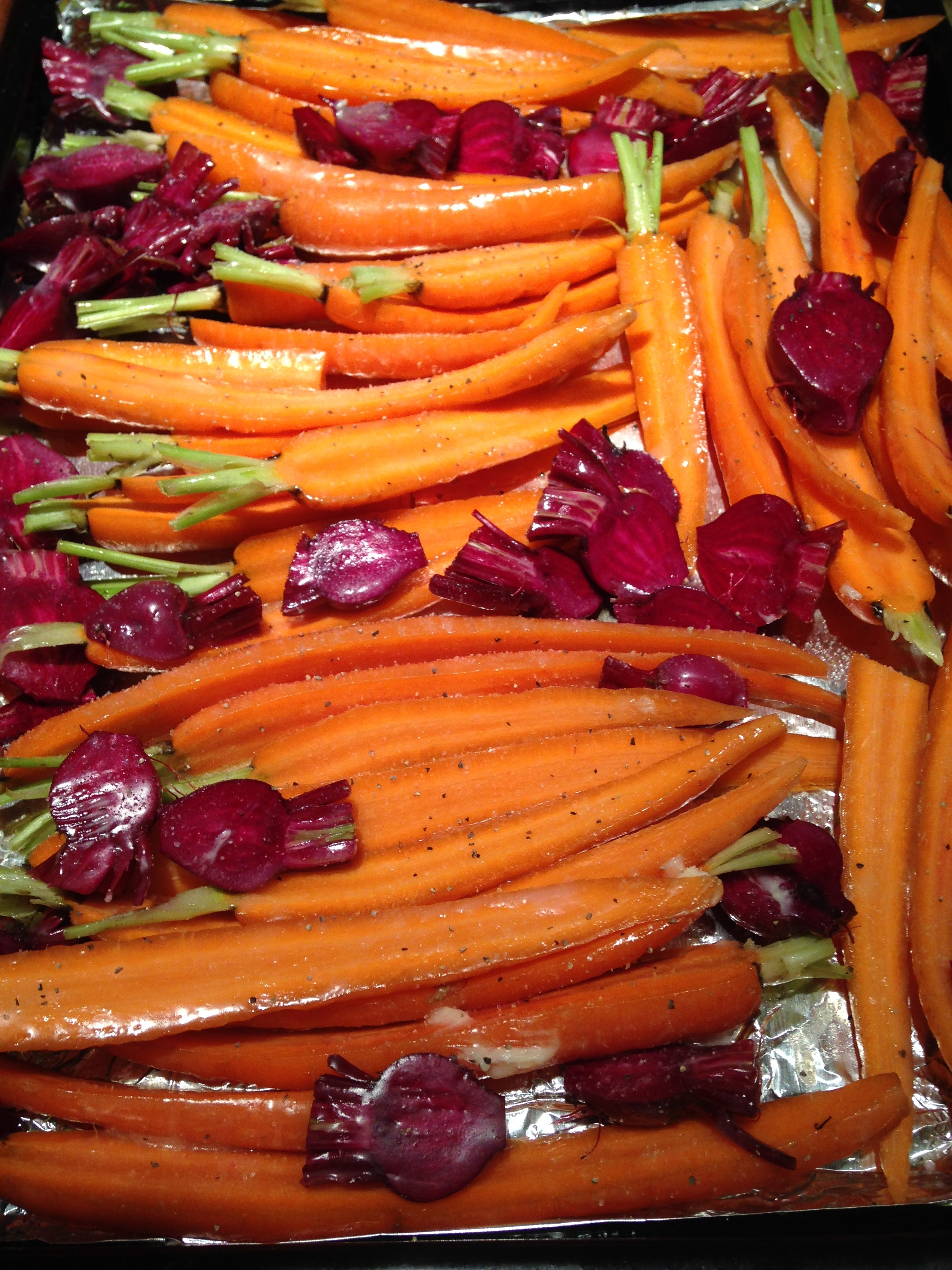carmelized fresh beets and carrots with stems